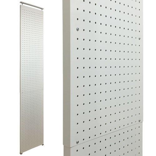 壁面突っ張りパンチングラック 有孔ボード風 幅45×奥行3×高さ160~270cm 6.5φ-30P ホワイト