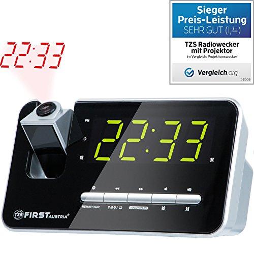 TZS First Austria Klokradio met projector   Nap-Snooze en Slaapfunctie   2 aparte wekkers   Projector van 180° tot 3 meter instelbaar