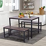 MAISON ARTS 3-Piece Dining Room Table Set for 4 Space Saving Kitchen Table Set with Benches Modern Compact Farmhouse Dining Table and Chairs Industrial Soho Counter Height Rectangle Dining Table Set