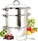 Cook N Home NC-00256, 28cm 11-Quart Stainless Steel Fruit Juicer Steamer Multipot, Silver