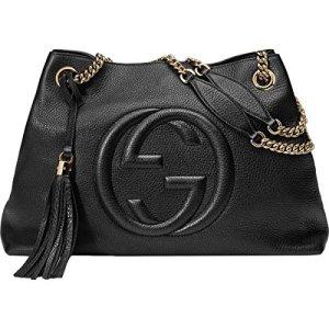 Gucci Soho Large Leather Chain Shoulder Handbag Black BHFO 5480 22
