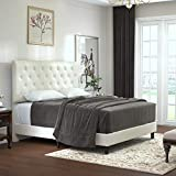 Allewie Queen Bed Frame Platform Bed with Faux Leather Upholstered Diamond Stitched Button Tufted Headboard and Wood slats/Mattress Foundation/No Box Spring Needed/Easy Assembly/Cream