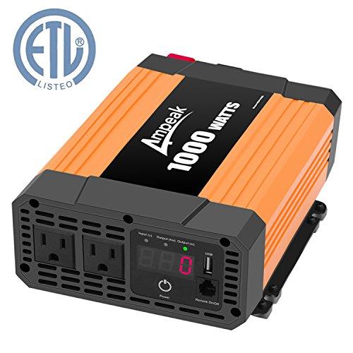 Ampeak 1000W Power Inverter Truck/RV Inverter 12V DC to 110V AC Converter with Dual AC Outlets 2.1A USB Modified Sine Wave Inverter