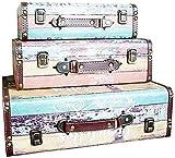 LHSUNTA Cajas de Almacenamiento de Madera Caja portátil 3 Piezas Maletas Decorativas Vintage Accesorios de Tiro para Bodas o Joyas Personalizadas Caja de Madera Decorativa (Color, Tamaño: