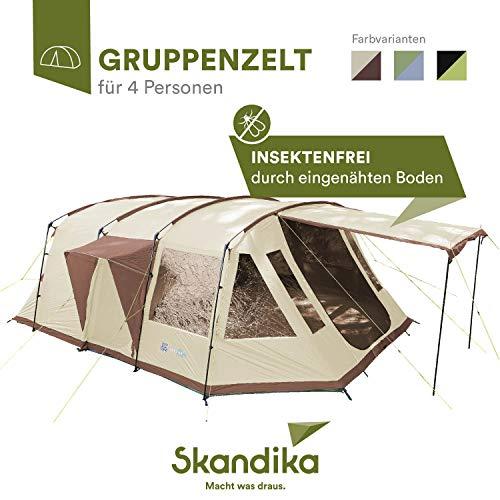 skandika Nordland 4 Personen Familienzelt mit eingenähtem Zeltboden und 5.000 mm Wassersäule (anthrazit/grün)
