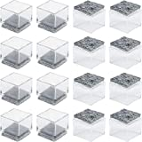 Anwenk 1''x1' Square Chair Leg Floor Protectors with Felt Pads 1inch 1 in Square Table Leg Protectors Chair Leg Caps Small, 16Pack,Clear