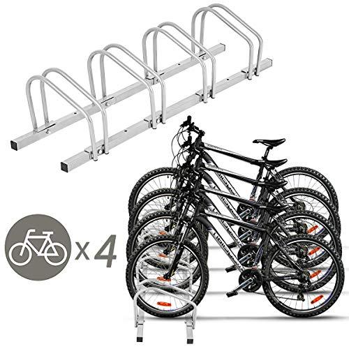Goplus 4 Bike Rack Bicycle Stand Cycling Rack Parking Garage Storage Organizer, Silver