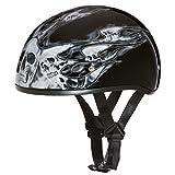 Daytona Helmets Motorcycle Half Helmet Skull Cap- Skull Flames Silver 100% DOT Approved