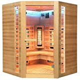 Home Deluxe – Infrarotkabine – Redsun XXL Deluxe - Vollspektrumstrahler und Karbon-Flächenstrahler – Holz: Hemlocktanne - Maße: 150 x 150 x 190 cm – inkl. komplettem Zubehör