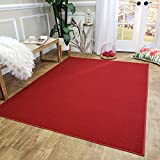 Maxy Home Area Rug 5x7 Solid Red Rubber Backed Non Slip for Any Room, Kitchen Rugs and Mats, Washable, Made in Europe