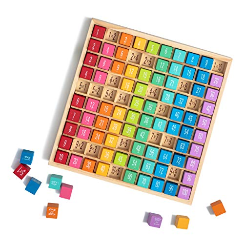 ROBUD Wooden Multiplication & Math Table Board Game, Kids Montessori Math Manipulatives Learning Toys Gift, Aged 3 Years Old and Up - 100 Wooden Counting Blocks