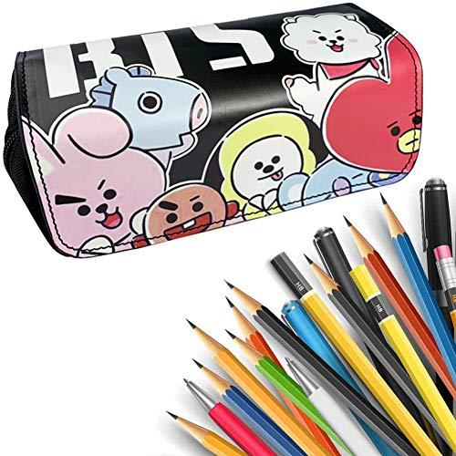 BAIBEI Astuccio per matite BTS, Astuccio a Doppio Strato, portapenne, per Studenti e Adolescenti,...