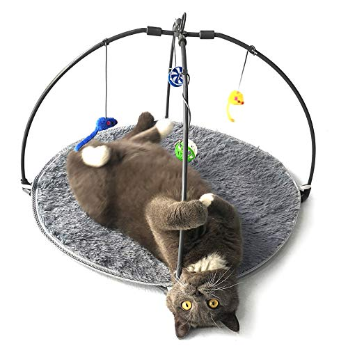 Winsterch Cat Toy Interactive Activity Center Play Mat with Hanging Toy Balls for Indoor Cats,Cat Kitten Toys (23.62''x 23.62'', Grey)