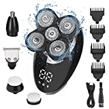 Ehpow Electric Shavers for Men Bald Head Shaver LED Display Rechargeable Electric Rotary Shaver 5 in 1 Head Shavers rooming Kit with Clipper Nose Hair Sideburns Trimmer Facial Clean Waterproof