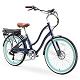 sixthreezero EVRYjourney Women's Electric Bicycle, 7-Speed Step-Through Touring Hybrid eBike, 250 Watt Motor, 26' Wheels, Navy