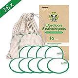 Abschminkpads Waschbar,16 Packs Wiederverwendbare Bambus Wattepads 10CM,100% Natürliche Bio Baumwolle waschbare Abschminktücher aus Bambus & Baumwolle mit Wäschebeutel,Gesichtsreinigung (16pcs)