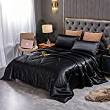 Sisher Satin Silky Comforter Set Queen , Black Bed Set 3Pcs Luxury Comforter Quilt Bed Sets Lightweight
