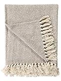 EHC Jeté de canapé en coton naturel à chevrons King size 220 x 250 cm