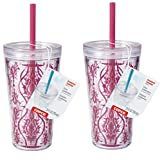 Copco Minimus Double Wall Insulated Tumbler with Removable Straw, 24 oz, Set of 2 (Damask Red)