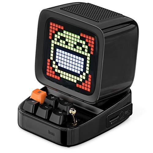 Divoom Ditoo Pixel Art Altavoz Bluetooth Multifuncional, Altavoz portátil Retro con Pantalla LED RGB, Teclado mecánico, Reloj Despertador Inteligente, Compatible con Tarjeta TF y Radio (Black)