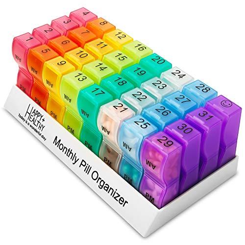 Organizador de pastillas mensuales, 32 compartimentos, organizador de pastillas, 2 veces al día, dispensador de pastillas y organizador por MEDca