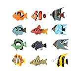 Fun Central 24 Pieces - Mini Tropical Fish Party Favor, Fish Figure for Kids - Assorted Styles