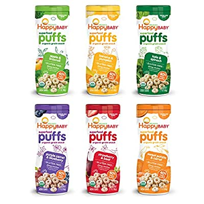 Superfood Puffs: Parents, meet your pantry's unsung hero Happy Baby Puffs are a melt-in-your-mouth Organic Snack fortified with Choline for eye & brain health Irresistible in taste & texture, they're perfect for teaching babies tactility & self-feedi...