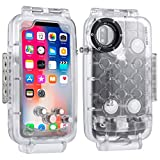 Haweel iPhone X/XS Underwater Housing Professional [40m/130ft] Diving Case for Diving Surfing Swimming Snorkeling Photo Video with Lanyard (iPhone X/XS, Transparent)