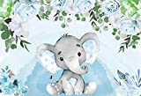 Baby Shower Background Party Gift 6x5ft Baby Boy Elephant Dessert Table Backdrop Watercolor Blue Floral W-1541