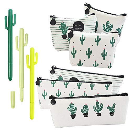 RETON Confezione da 9 Pezzi Set di Cancelleria di Cactus - 3 x Sacchetto di Matita per Penne in Tela, 3 x Portamonete in Tela, 3 x Penna Gel da 0,5 mm per Ufficio Forniture Per Ufficio