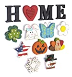 The Lakeside Collection Wooden Decorative Home Signs with Letters, Pumpkin, Turkey, Snowflake - 13 Pc.