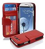 Cadorabo Coque pour Samsung Galaxy S3 / S3 Neo en Rouge Cerise – Housse Protection avec Fermoire Magnétique et 3 Fentes Cartes – Portefeuille Etui Poche Folio Case Cover