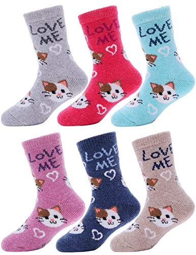 ProEtrade Calzini in lana per ragazzi e ragazze, caldi, termici, spessi, in cotone, invernali, per...