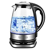 Queen Sense Electric Kettle, 1500W 1.8 Quarts Water Boiler with 5-Temperature Setting 12-Hour Keep Warm Function, Borosilicate Glass Teakettle Tea Pot 1703T