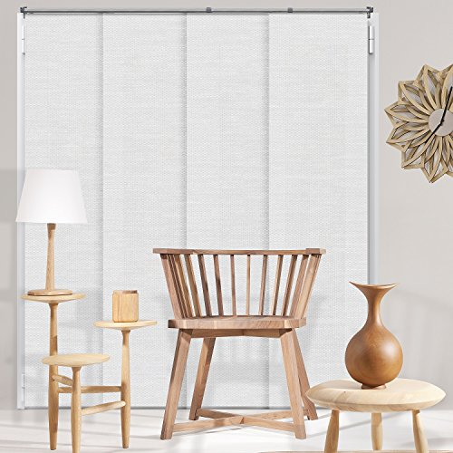 Chicology Adjustable Sliding Panels Cut to Length Vertical Blinds, Up to 80' W X 96' H, Birch White (Privacy & Natural Woven)
