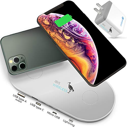 IBIS Wireless Dual Wireless Charger Fast Charging Station 3 Multiple Devices At Once, Wireless Charging Pad, Certified Qi Wireless Charger USB C Phone charger Pad For iPhone XS Max 8 Galaxy Qi Charger