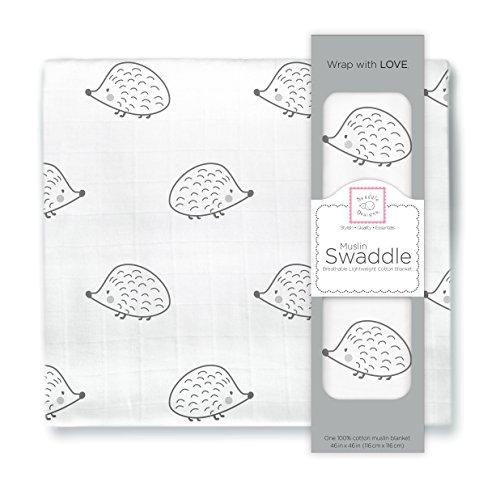 SwaddleDesigns Cotton Muslin Swaddle Blanket, Black Hedgehog
