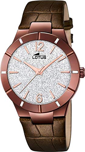 Lotus Damen Analog Quarz Uhr mit Leder Armband 18611/2