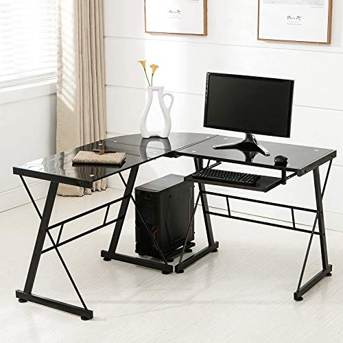 Mecor L-Shaped Corner Computer Desk with Shelf, Glass Laptop Home...