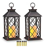 Evermore Light 14' Copper Brushed Vintage Style Candle Lantern with 4 Hours Timer (Batteries Included) Hanging Lantern for Indoor&Outdoor Flameless Candles Decorative-Candles-Lanterns (Set of 2)