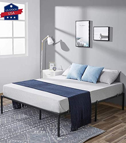 Bed Frame Queen 14 Inch Heavy Duty Metal Bed Frame Mattress Frame, Noise-Free and Anti-Slip Mattress Foundation No Box Spring Needed Maximum Under-Bed Storage Easy Assembly
