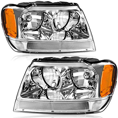Compatible with 1999-2004 Jeep Grand Cherokee Headlights 4-Dr OEDRO Upgrated Amber Side Chrome Housing Crystal Clear Replacement Headlight Set Left+Right, 2-Yr Warranty