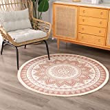 Boho Mandala Bedroom Circle Rug, Small Meditation Bohemian Round Carpet with Fringe, Cute Kids Playroom Mat 4 feet, Moroccan Cotton Woven Circular Rug
