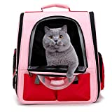 ZBHGF Paño de Oxford Mochila de Burbujas Espacio para Transportar Mascotas, Transpirable, portátil, para Perro, Cachorro, Gato, Bolsa de Viaje,Rosado