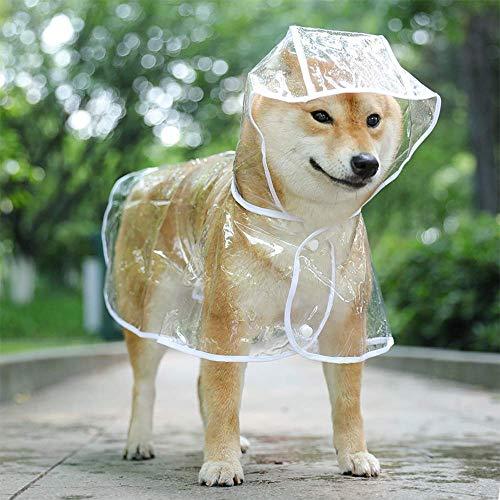 Cappottino catarifrangente per Cani Gatto con cappuccio, Regolabile PVC trasparente poncho impermeabile ultraleggero, Per cani di piccola tagliabianca, S