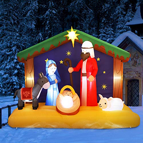 YUNLIGHTS 6.5FT Christmas Inflatable Nativity Scene, Blow Up LED Light Christmas Inflatable Jesus for Outdoor Indoor Garden Yard Lawn Party Holiday Decoration