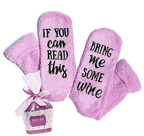 Calzini da vino 'If You Can Read This Bring Me Some Wine' con confezione regalo per cupcake...