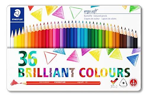 Staedtler ergosoft 157 M36 Buntstifte erhöhte Bruchfestigkeit, dreikant, Set mit 36 brillanten Farben