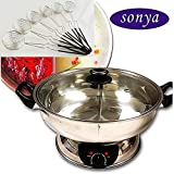 Bonus Package Sonya Shabu Shabu Hot Pot Electric Mongolian Hot Pot W/DIVIDER with 6 spoons UL Approved for safety
