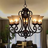 LightInTheBox 5-Light Chandeliers Retro black Elegant and simple style Flush Mount Painting Lighting Fixture Lamp for Dining Room, Kitchen, Garage